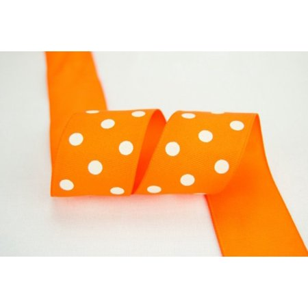 Ribbon Bazaar Grosgrain Polka Dots 3/8 inch Orange 25 yards 100% Polyester Ribbon