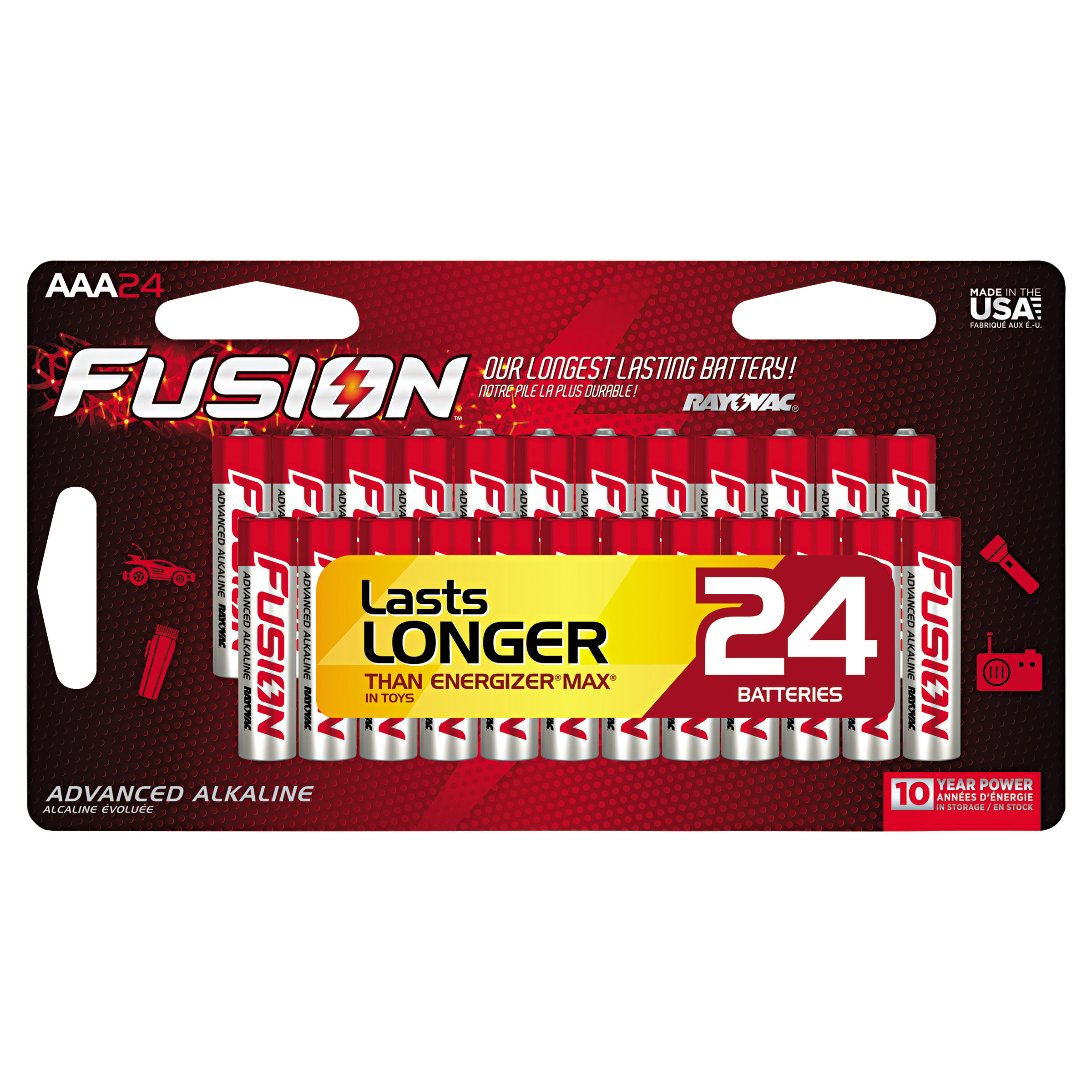 Rayovac Fusion Advanced Alkaline Batteries, AAA, 24/Pack