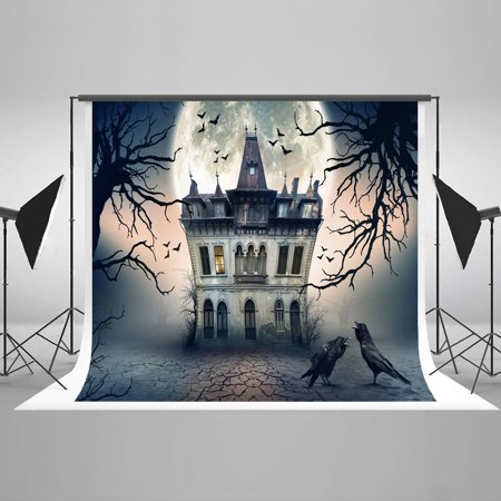 HelloDecor Polyster Ghost Halloween Castle Haunted Night Luxurious Backdrop Studio Props pour Toussaint 7x5ft (Halloween Haunted Castle Props)