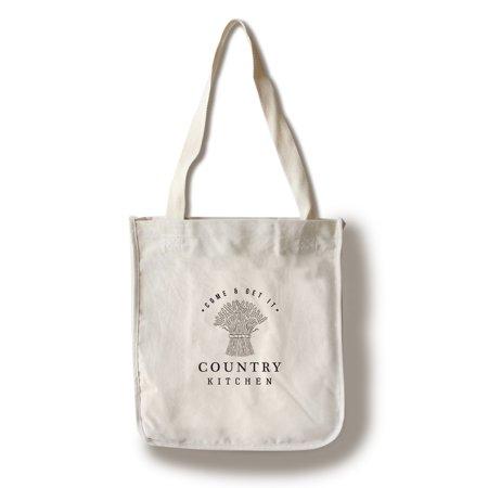 Bundles Bags - Country Kitchen - Wheat Bundle on White - Lantern Press Artwork (100% Cotton Tote Bag - Reusable)