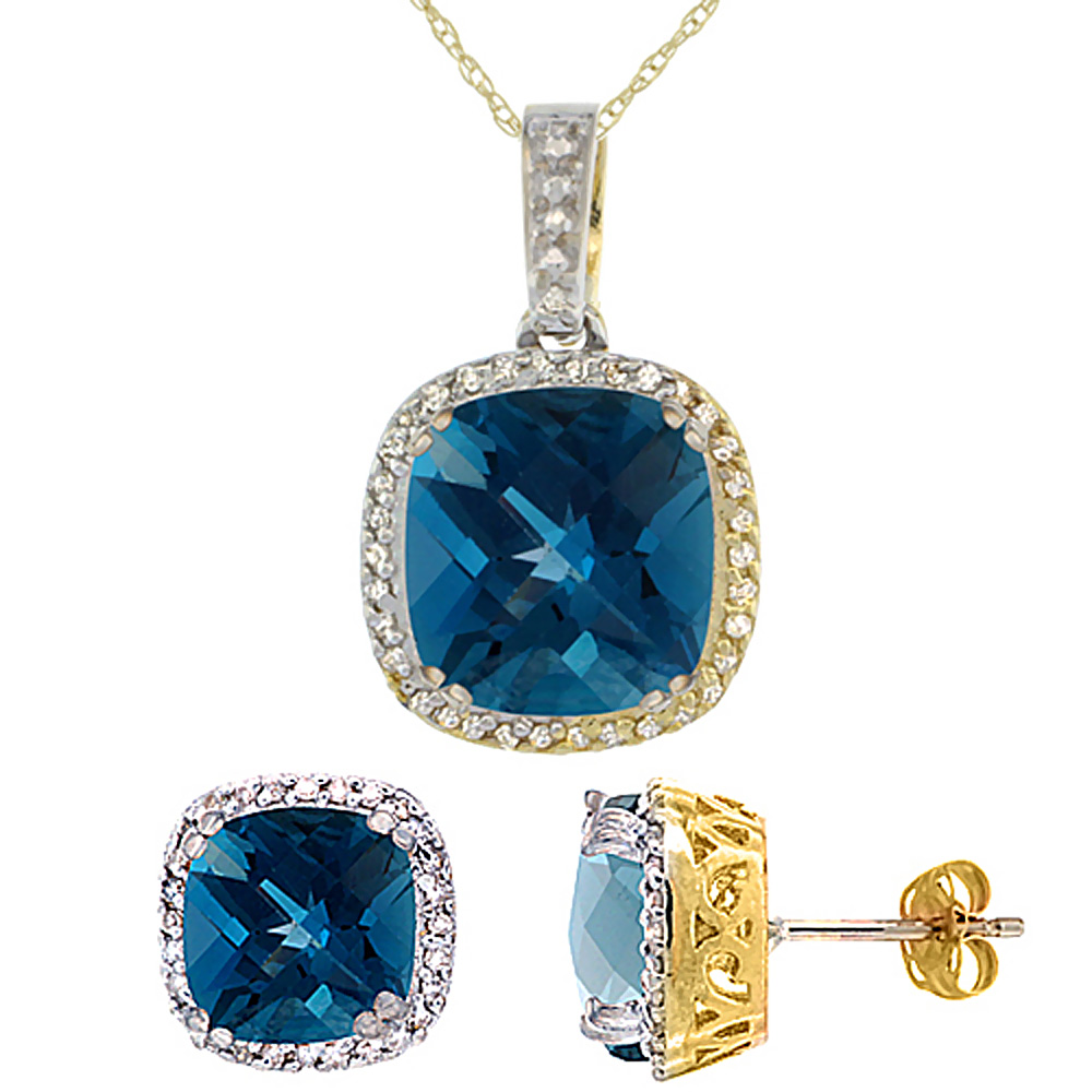 10K Yellow Gold Natural Cushion London Blue Topaz Earrings & Pendant Set Diamond Accents by WorldJewels