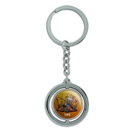 DPS Damage Per Second RPG MMORPG Class Role Playing Game Spinning Round Chrome Plated Metal Keychain Key Chain
