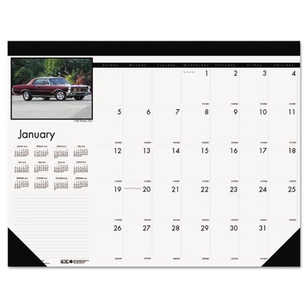 Classic Cars Photographic Monthly Desk Pad Calendar  18 1 2 X 13  2017