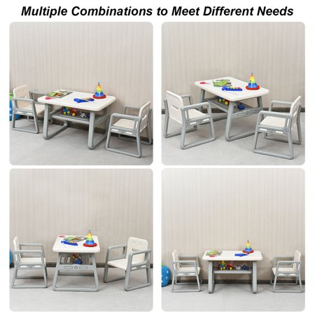 Gymax Kids Table and 2 Chairs Set Toddler Table w/ Storage Shelf For Baby Gift White - image 2 de 10