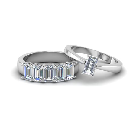 Emerald Cut Diamonds Band (Solitaire Engagement Ring With 5 Stone Matching Wedding Band 1.40 Carat Emerald Cut)