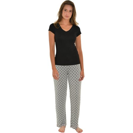 Womens Pajama Set Black V-neck Top Gray Pink PJ Pants Sleepwear 2 Piece