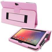Snugg B00CL8XJL6 Nexus 10 Case Cover and Flip Stand, Candy Pink Leather