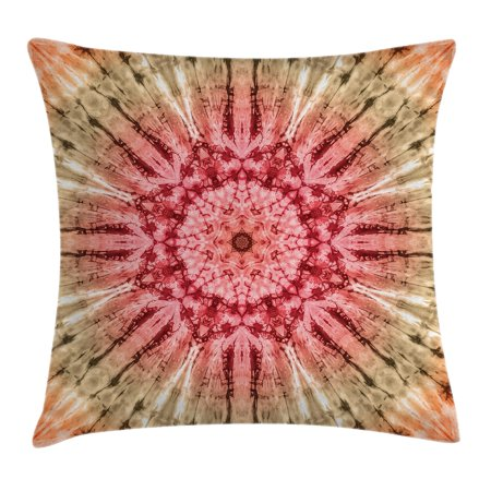 Tie Dye Decor Throw Pillow Cushion Cover, Gradient Circle Batik Pattern with Spectral Pleats and Distressed Spots Image, Decorative Square Accent Pillow Case, 16 X 16 Inches, Red Brown, by Ambesonne