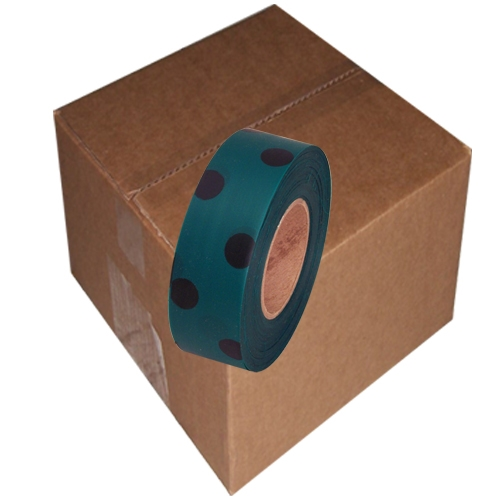 12 Roll Case of Green and Black Polka Dot Flagging Tape 1 3/16 inch x 300 ft Non-Adhesive