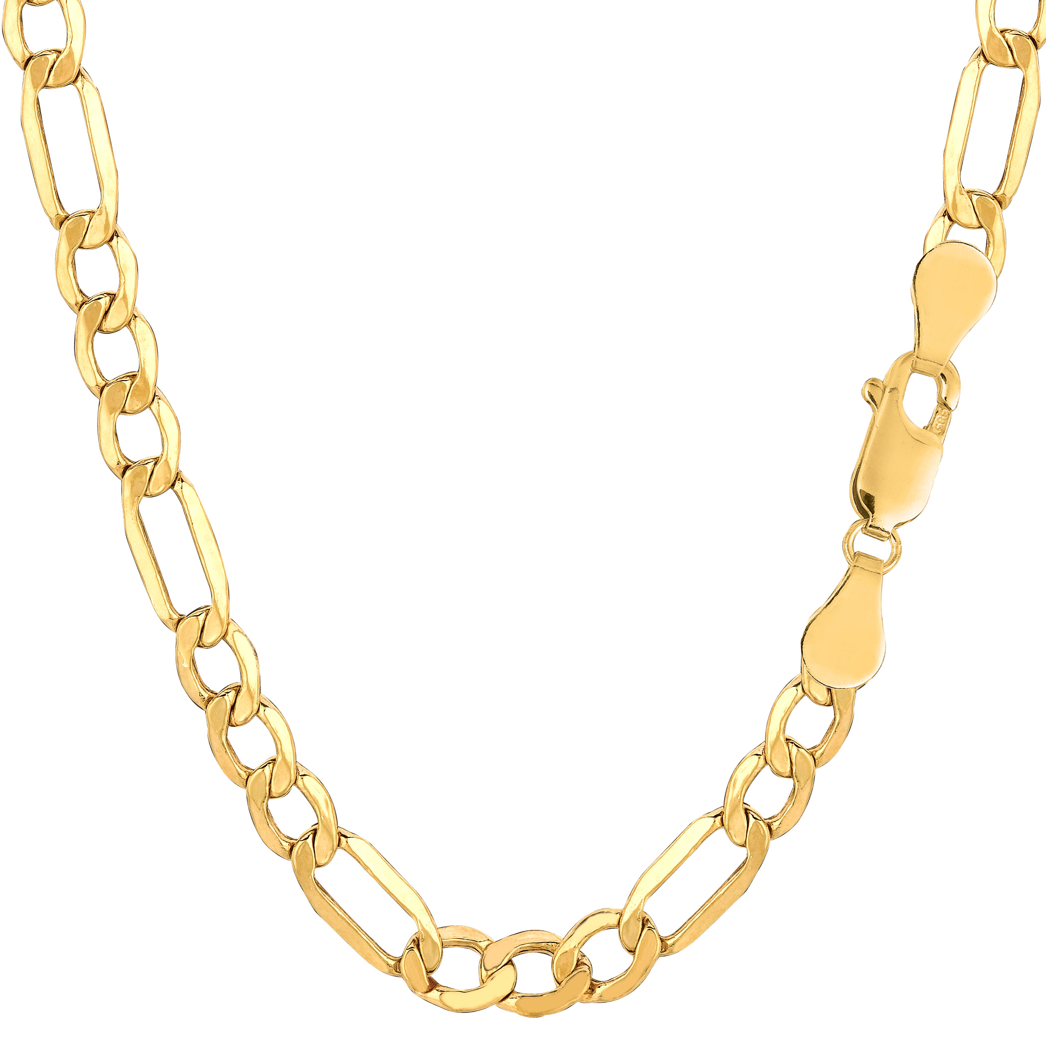 "10k Yellow Gold Hollow Figaro Bracelet Chain, 5.4mm, 8.5"" - image 1 de 1"