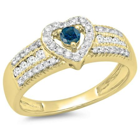 Dazzlingrock Collection 0.55 Carat (ctw) 10K Blue & White Diamond Bridal Heart Engagement Ring 1/2 CT, Yellow Gold, Size 7.5