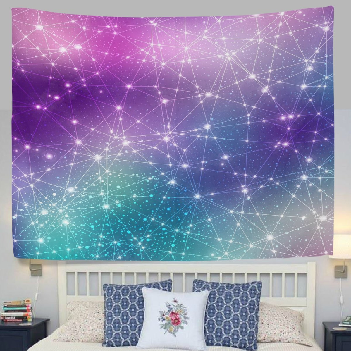 POPCreation Purple Universe Galaxy Space Stars Digital Fabric Tapestry  Throw Dorm Bedroom Art Home Decor Tapestry