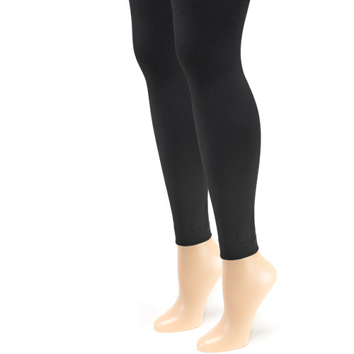 2 PAIRS WOMENS BLACK THERMAL FOOTLESS TIGHTS FLEECE LINED FOR WARMTH SOFT AND