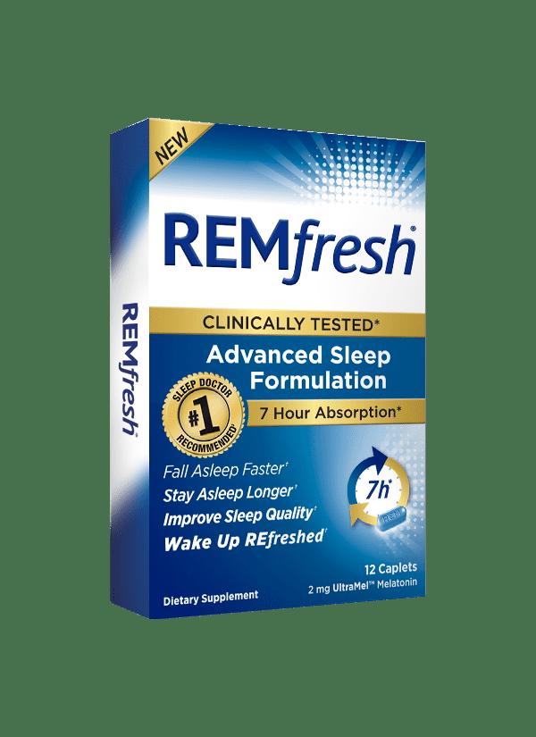 REMfresh UltraMel Melatonin Advanced Sleep Formulation Caplets, 2mg, 12 ct