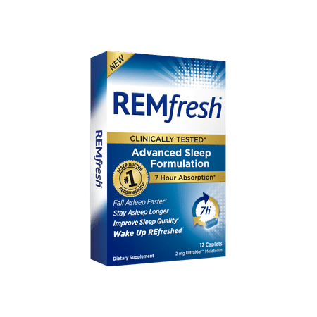 REMfresh UltraMel Melatonin Advanced Sleep Formulation Caplets, 2mg, 12 ct