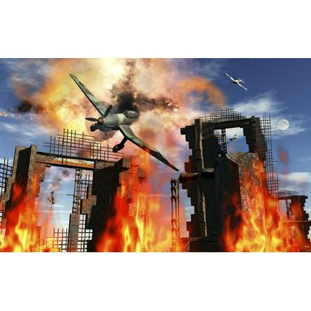 - A German Ju 87 Stuka dive bomber is shot down during World War II Poster Print by Mark StevensonStocktrek Images