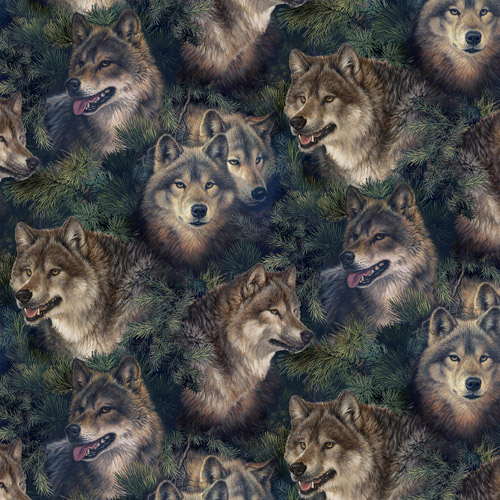 "David Textiles Larry Fanning ""Wolves"" Fabric by the Yard, 44""W"