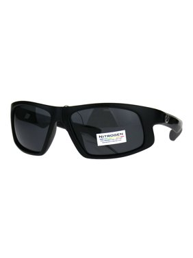 0e0740bd2a Product Image Nitrogen Mens Polarized Lens Sport Warp Plastic Sunglasses  Solid Black