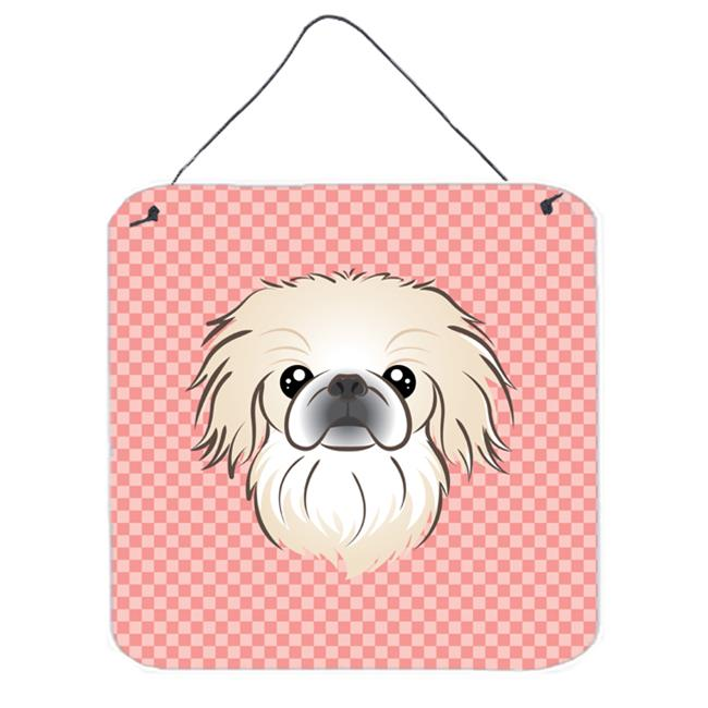 Checkerboard Pink Pekingese Aluminum Metal Wall Or Door Hanging Prints, 6 x 6 In.