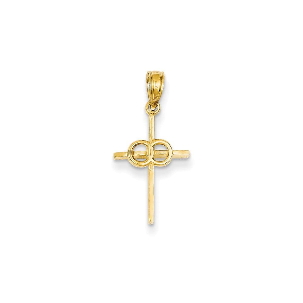 14k Yellow Gold Eternity Rings Latin Cross Pendant