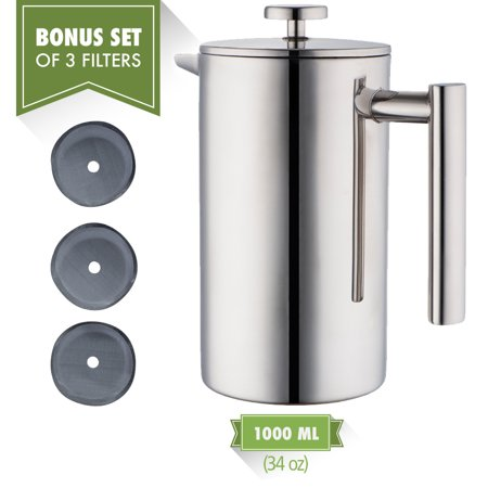 MIRA Double Wall Tea & Coffee Brewer French Press | Stainless Steel Insulated Coffee Pot & Maker | Keeps Brewed Coffee or Tea Warm for Hours | 34 Oz (1 Liter) | Set of 3 Filters