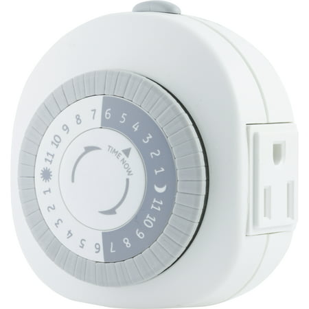 GE 24-Hour Heavy Duty Indoor Plug-In Mechanical Timer, 1 Grounded Outlet, White, 15153