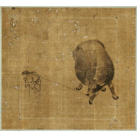 Unknown Buffalo - Small Boy Struggling To Lead a Water Buffalo Stretched Canvas - Unknown (24 x 24)