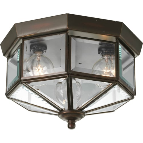 "Progress Lighting P5788 3 Light Flush Mount Outdoor Ceiling Fixture with Beveled Glass Panels - 9"" Wide"