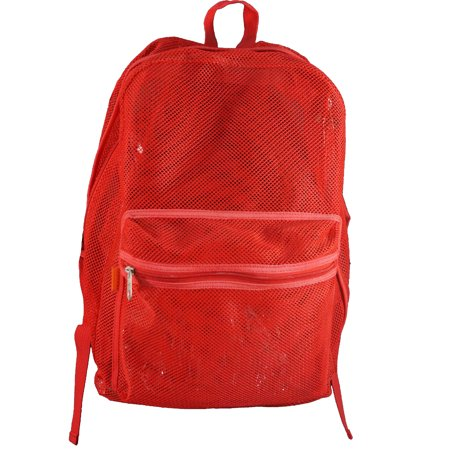 Case Lot 40pc Mesh Backpack See Through Student School Bag Bookbag Red