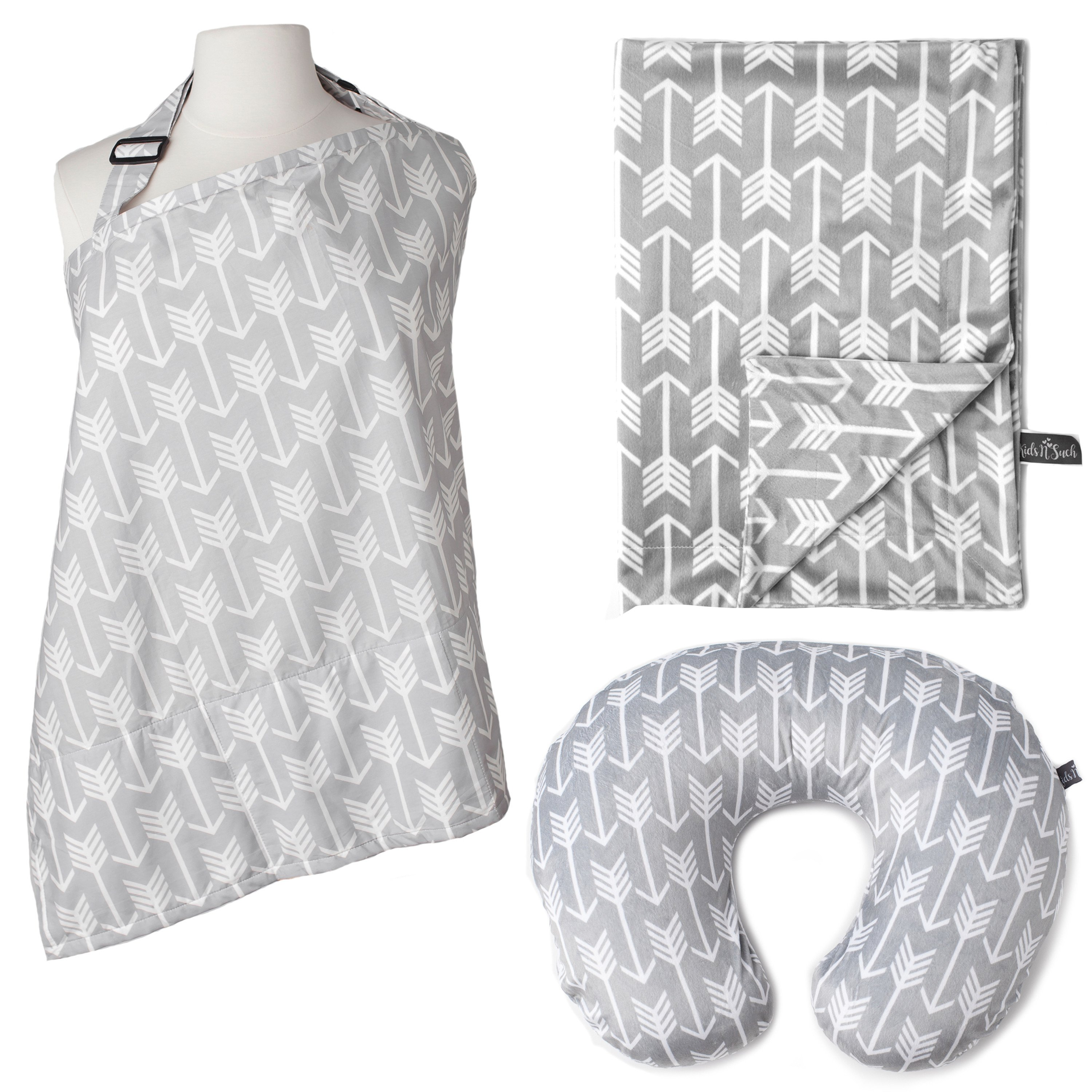 Kids N' Such 3-Pack Bundle of Arrow Nursing Cover, Nursing Pillow Cover, and Baby Blanket