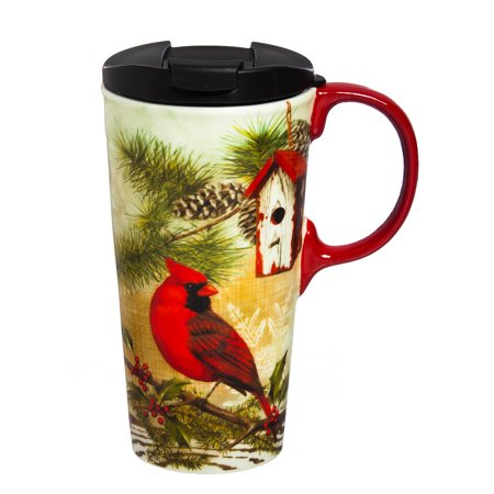 Cypress Home Rustic Holly Ceramic Travel Coffee Mug, 17 ounces Nfl Ceramic Travel Coffee Mug