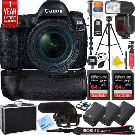 Canon 5D Mark IV EOS 30 4MP Full Frame DSLR Camera w/ EF 16-35mm f/2 8L III  USM Lens Pro Memory Triple Battery & Grip SLR Video Recording Bundle -