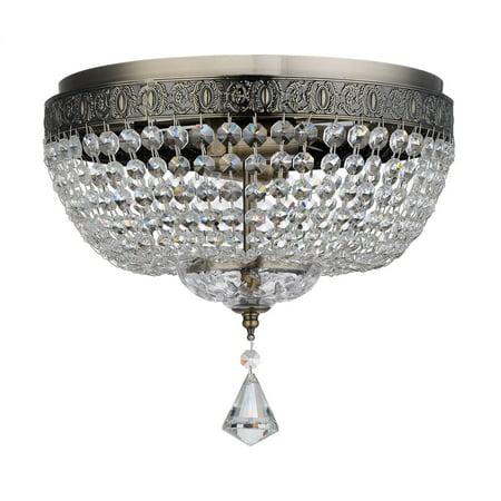 Royal Designs  Clear K9 Quality Elegant Antique Brass Round Josette Crystal Ceiling Flush Mount -2 Lights (Designer Antique Brass)