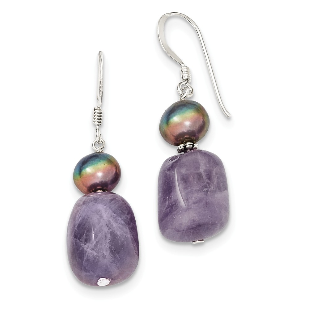 Sterling Silver Amethyst & Freshwater Cultured Pearl Earrings (1.3IN x 0.3IN )