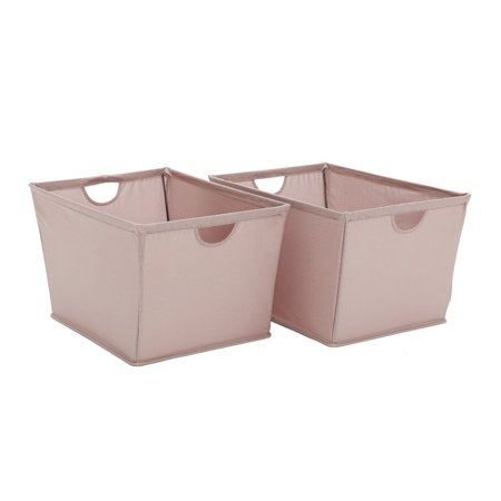(StorageManiac 2-Pack Folding Polyester Canvas Storage Bin with Built-in Handles, Light Brown, Large)