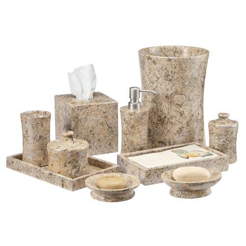 Beau Fleur De Lis Living Edinburgh Fossil Stone 10 Piece Bathroom Accessories Set
