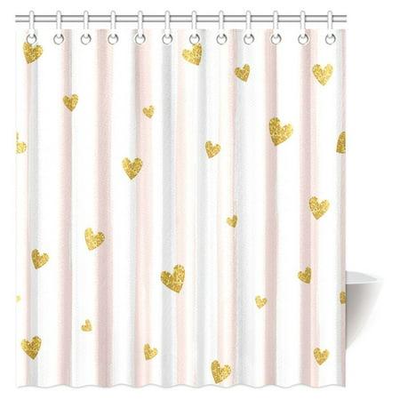 MYPOP Pink White Striped Decorations Shower Curtain Gold Glittering Heart Confetti Pattern Bathroom Decor