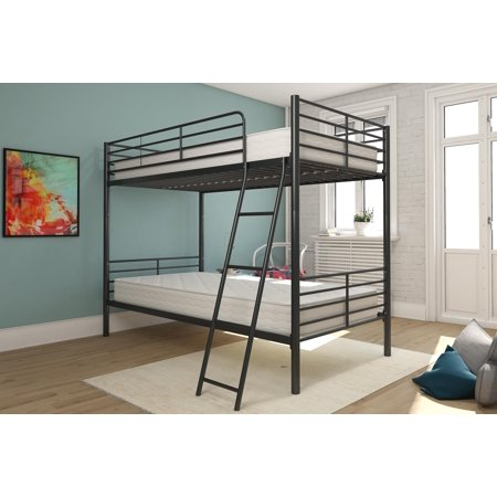 Explorer Bunk Bed Set - DHP Twin Over Twin Metal Bunk Bed with 2 Mattresses, Multiple Colors