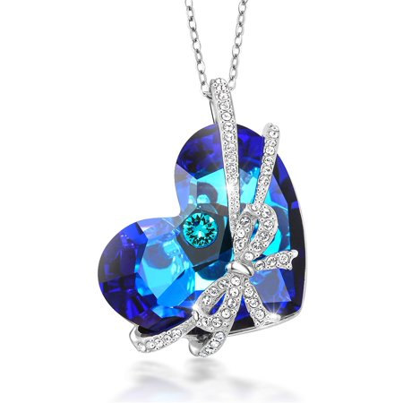 Encased Gems - Bermuda Blue Encased Ribbon Heart Pendant Created with Swarovski® Crystals