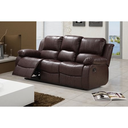 Zoey Reddish Brown Bonded Leather Living Room Reclining Sofa with ...