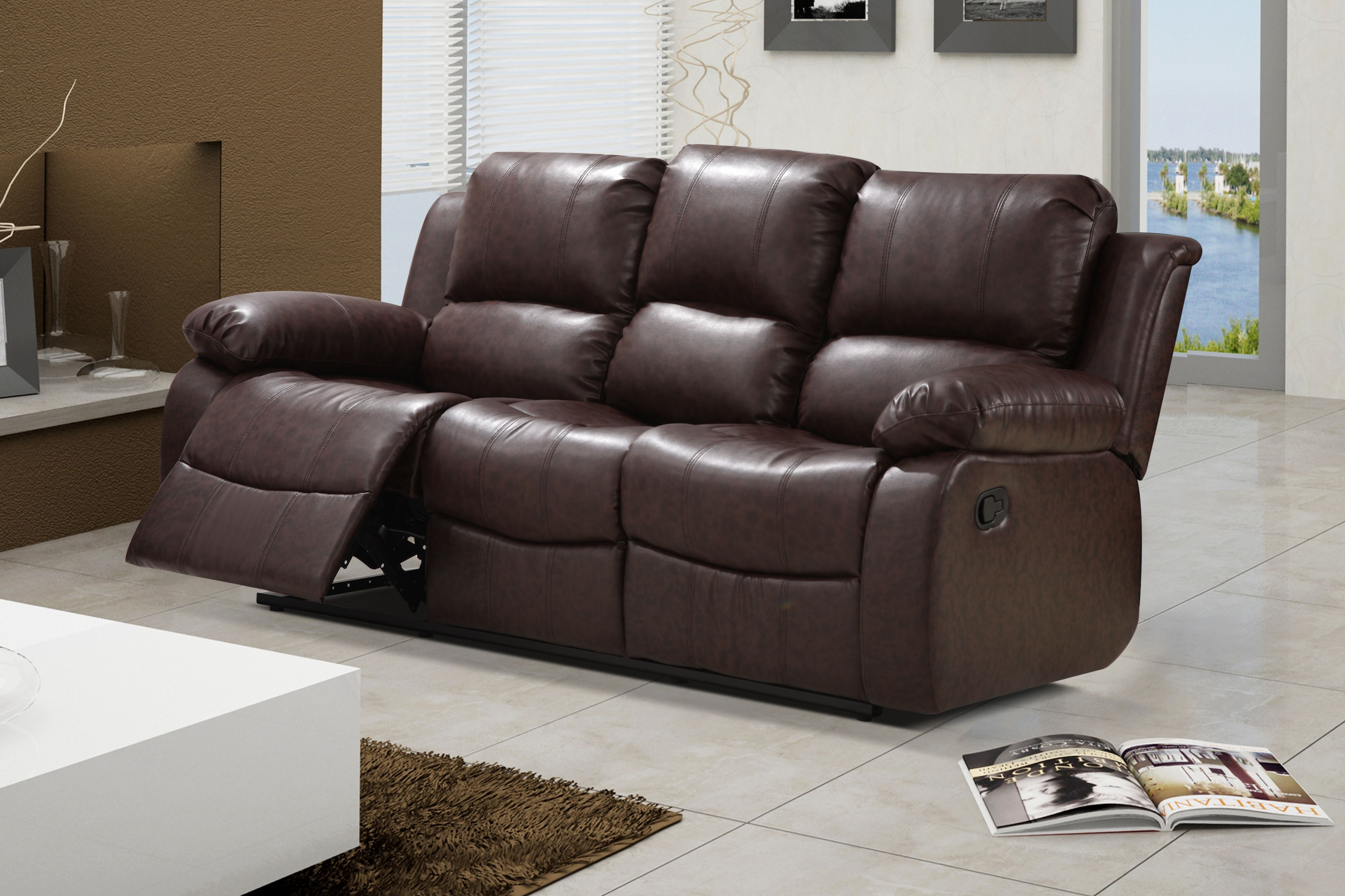 Zoey Reddish Brown Bonded Leather Living Room Reclining Sofa With Drop Down  Tea Table