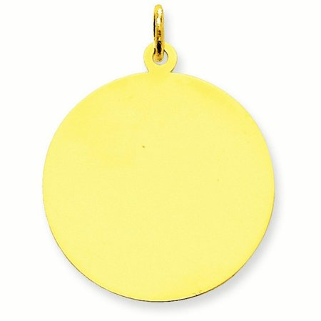 (14k Yellow Gold Solid Polished Engravable Plain .013 Gauge Circular Engraveable Disc Charm)