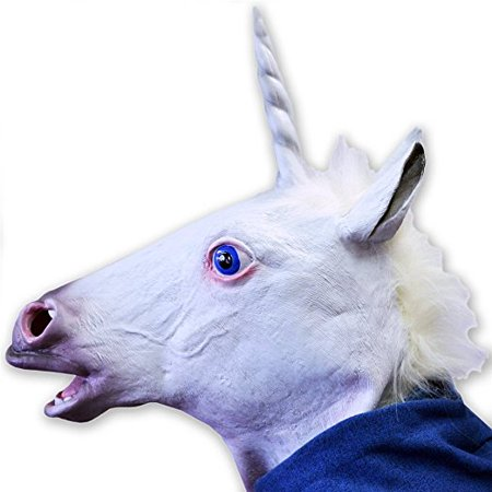 Halloween Creepy Adult Unicorn head latex Rubber Mask - Fancy Dress - Celebrity Rubber Masks