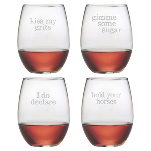 Susquehanna Glass Short N' Sweet 4 Piece 21 oz. Stemless Wine Glass Set