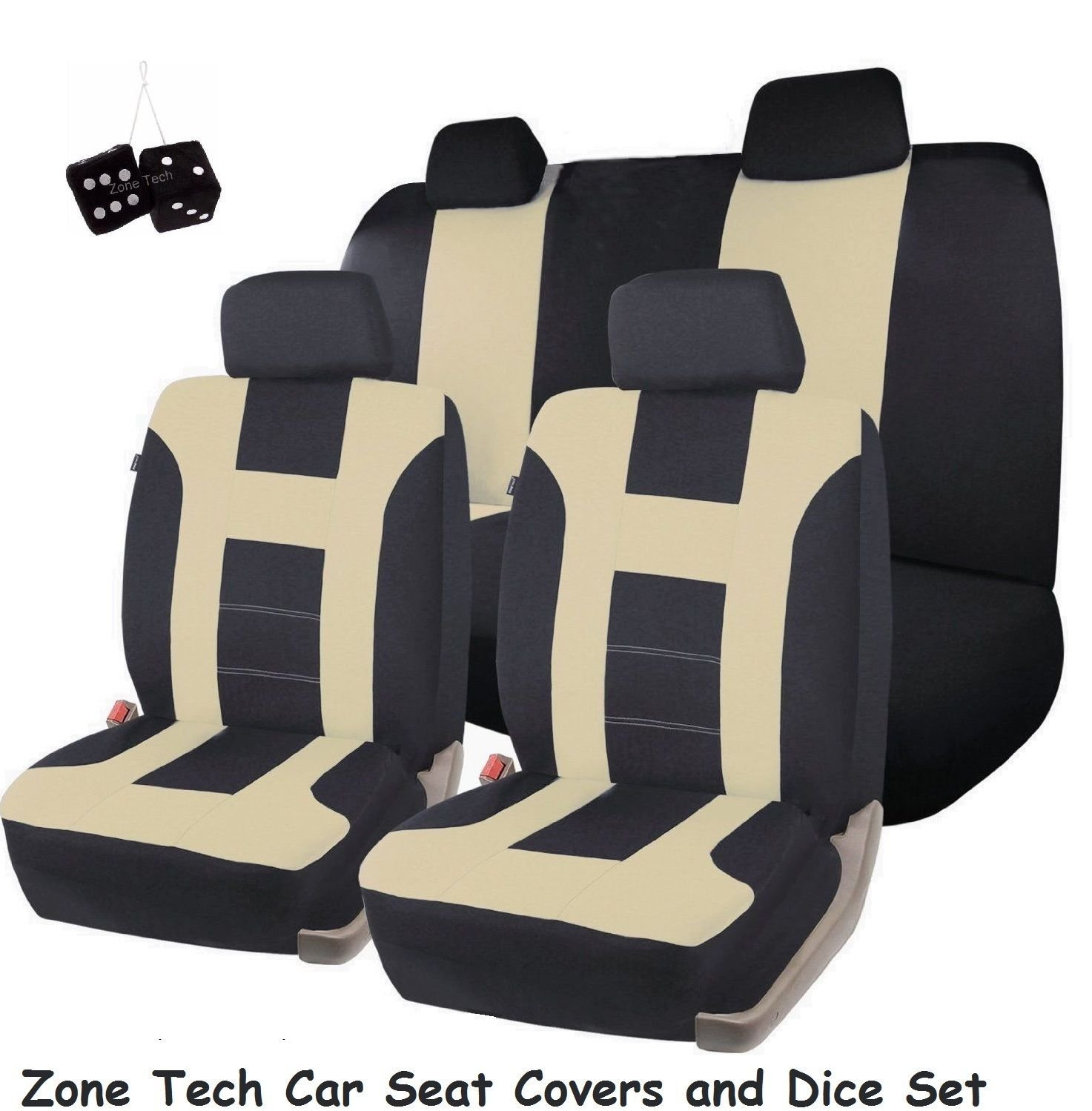 Zone Tech Universal Fit Premium Quality 100% Waterproof Breathable Full Set of Beige and Black Racing Style Seat Covers + Pair of Classic Black Plush Hanging Fuzzy Dice Set