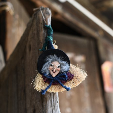 Tommyfit 3 Colors Hanging Witch With Broom Door Pendant Garden Halloween Party - Witch Tree Decoration