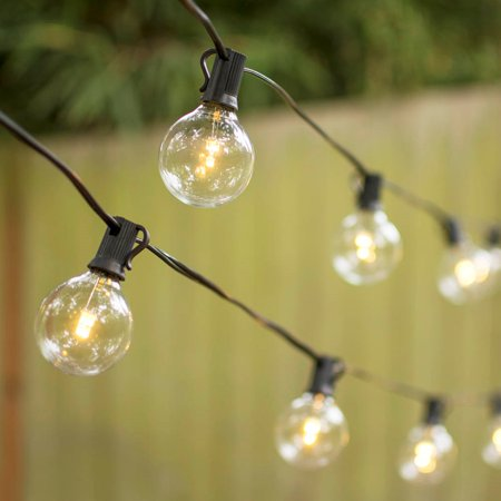 outdoor string lights led globe string lights g50 bulb 25 ft black