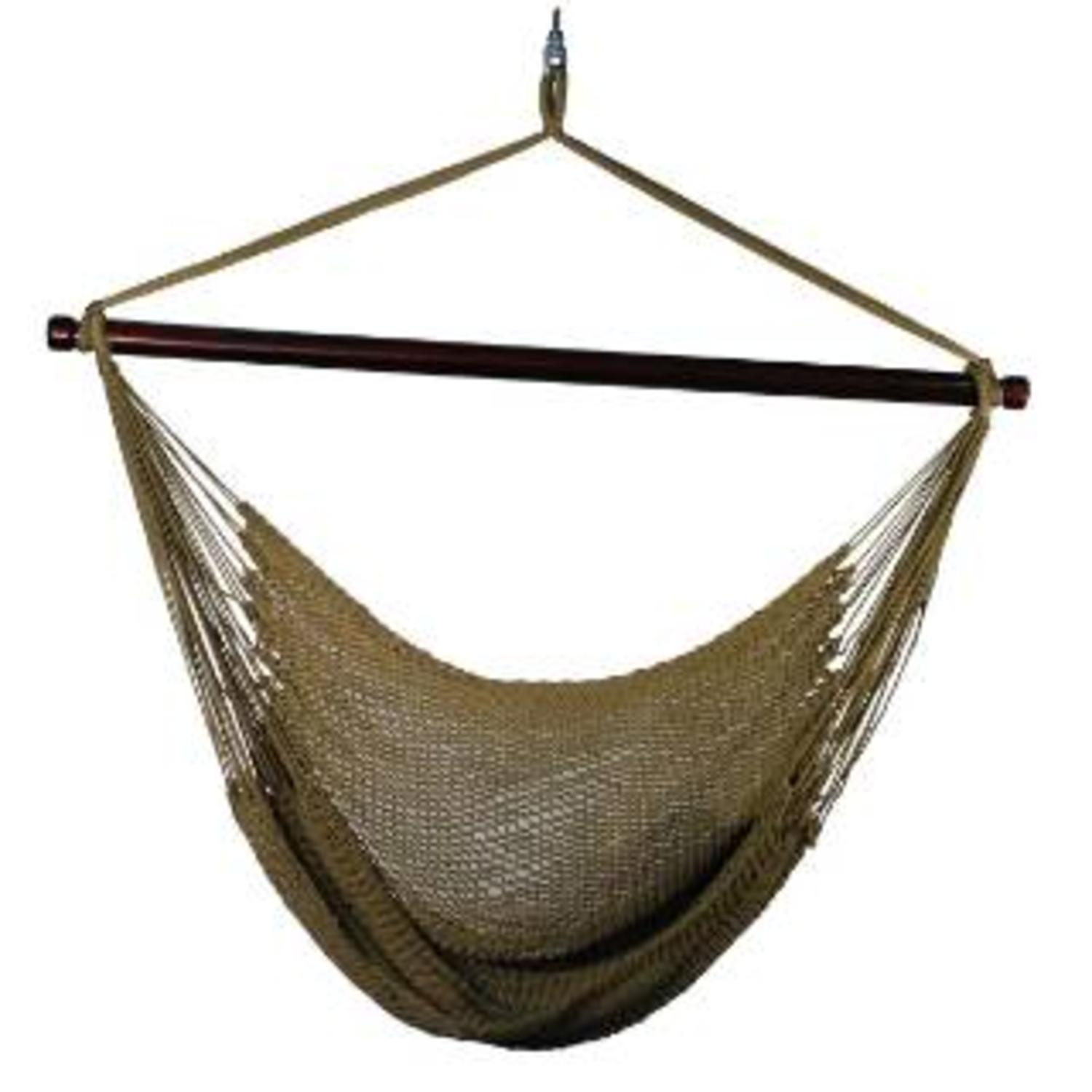 "48"" x 44"" Camel Brown Hanging Caribbean Rope Hammock Chair"