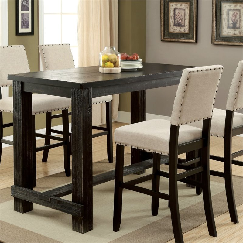 Furniture Of America Stanton Pub Table In Antique Black   Walmart.com