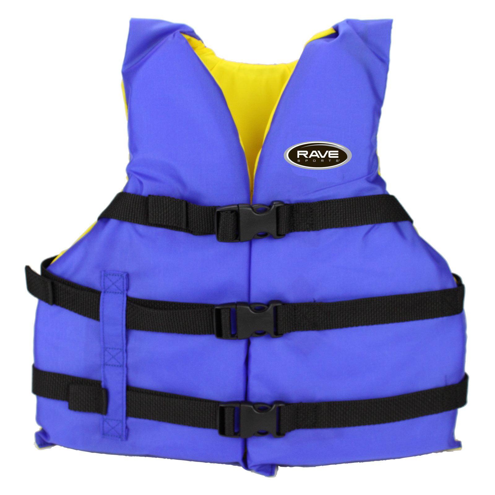 Rave Sport Universal Nylon PFD Adult Life Jacket, Blue